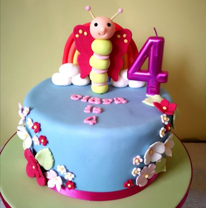 Fantastic A Rainbows Butterflies Themed Birthday Cake Hungry Squirrels Funny Birthday Cards Online Overcheapnameinfo